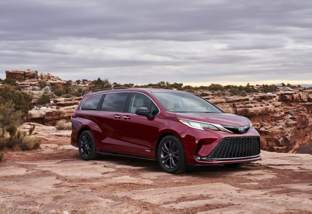 A red 2021 Toyota Sienna parked outdoors