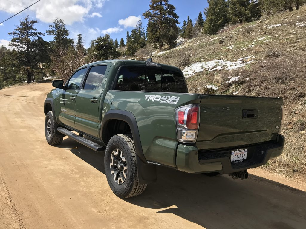 a rear shot of the lifted 2021 Toyota Tacoma TRD Off Road