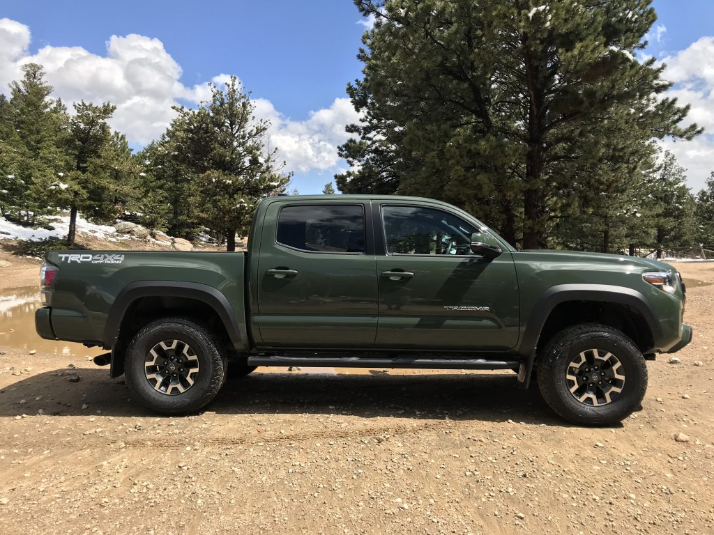 A side shot of the 2021 Toyota Tacoma TRD Off Road with the TRD lift kit