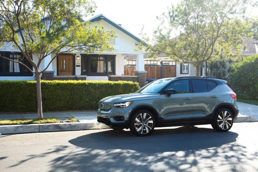 2021 Volvo XC40 parked in front of a house, the XC40 is one of the best affordable luxury cars under $35,000