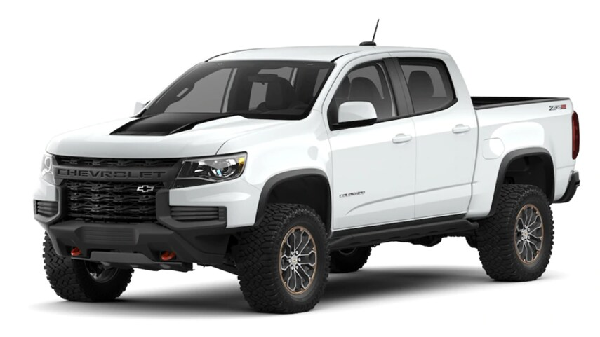 A white 2021 Chevy Colorado in front of a white background