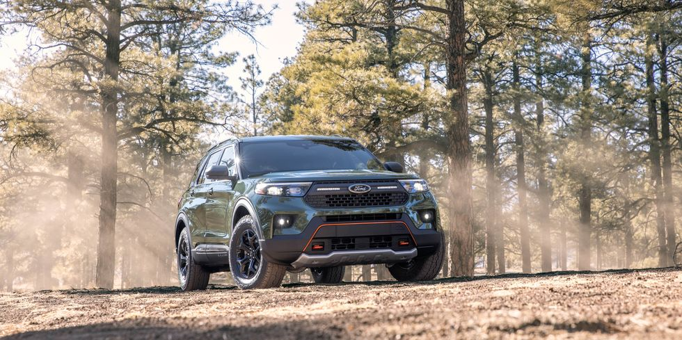 The 2021 Ford Explorer Timberland in the woods