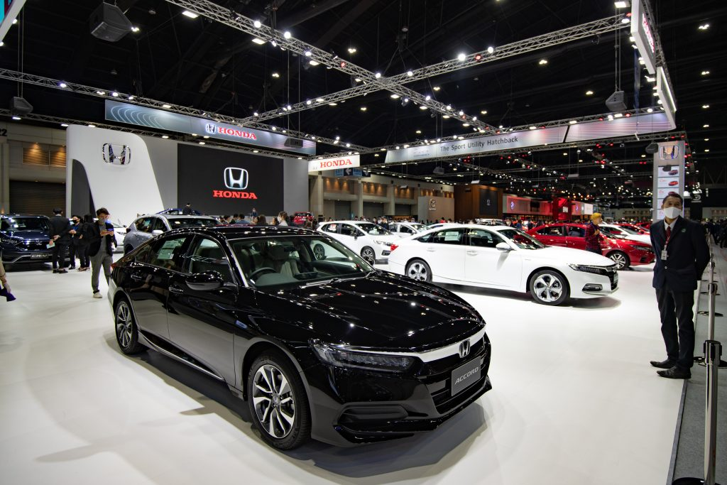 A black Honda Accord seen on display at the Thailand International Motor Expo 2020
