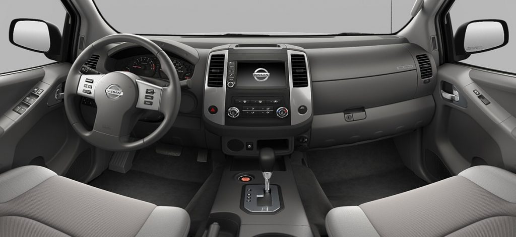 interior dash view of the 2021 Nissan Frontier midsize pickup truck