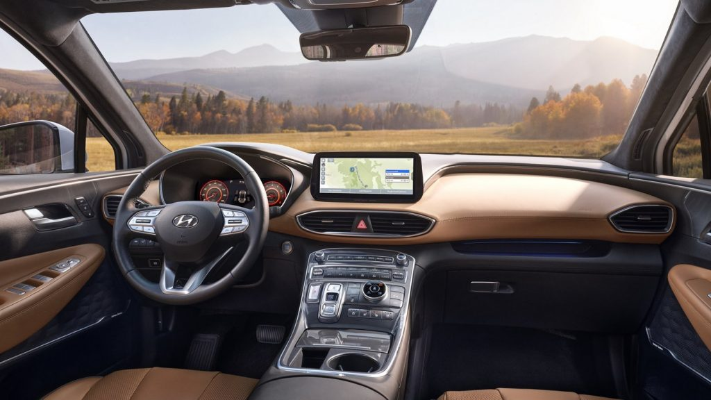 The 2021 Hyundai Santa Fe interior including the center stack and digital cluster display
