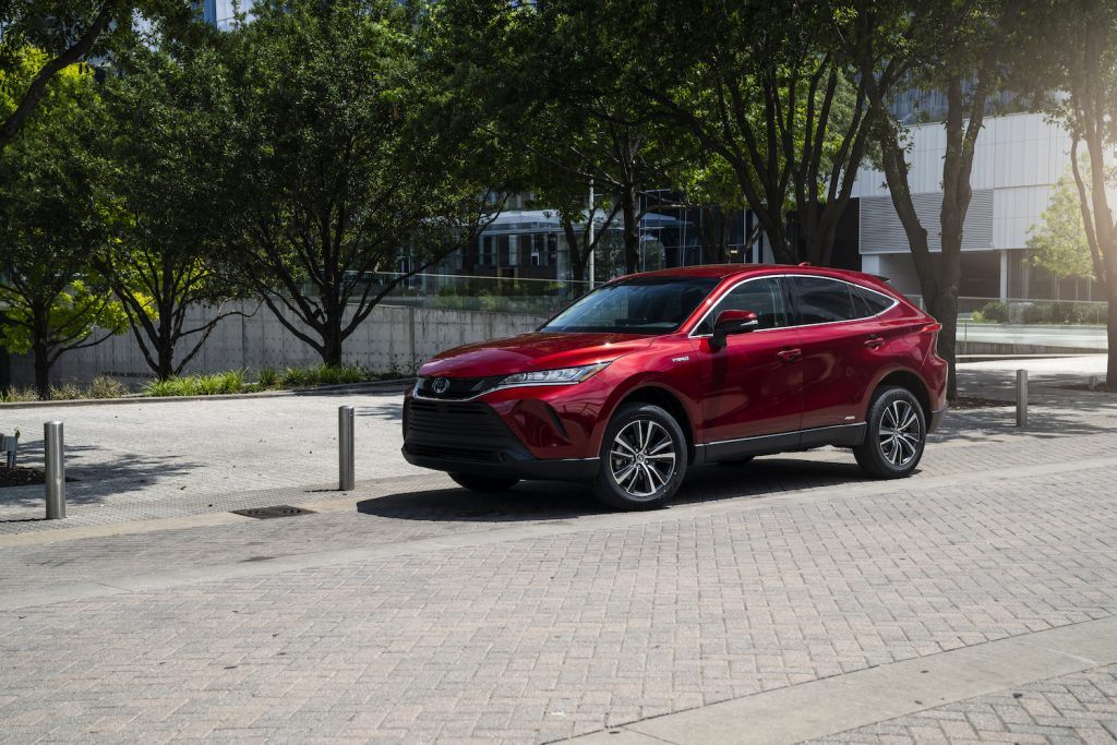 A red 2021 Toyota Venza parked
