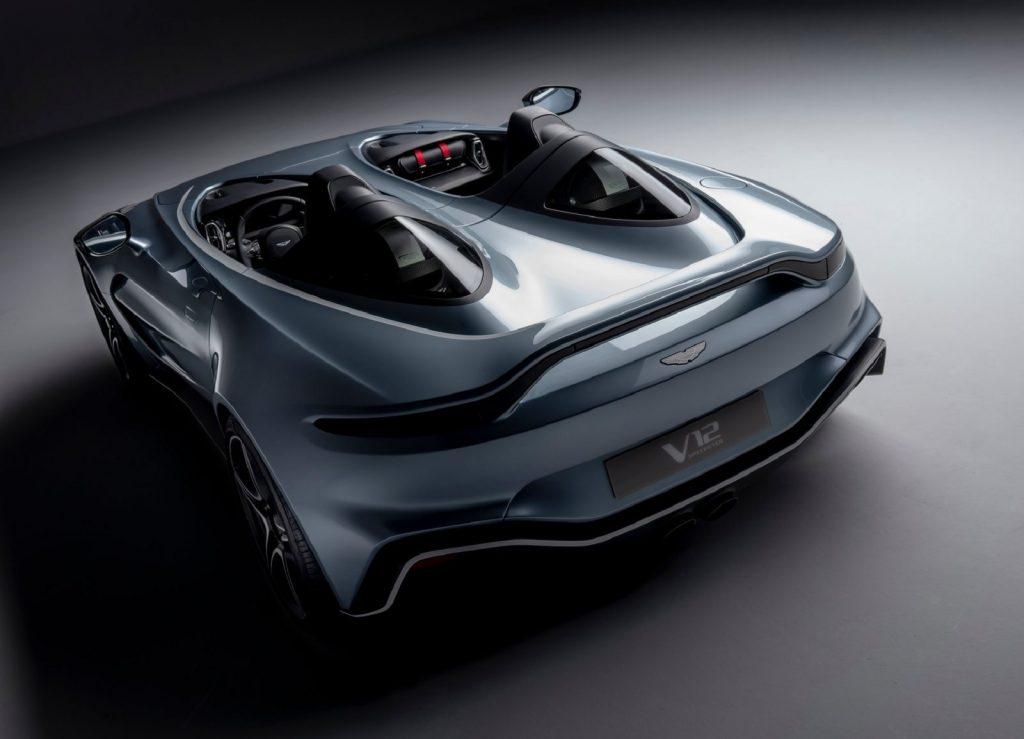 The rear 3/4 view of a gray 2022 Aston Martin V12 Speedster
