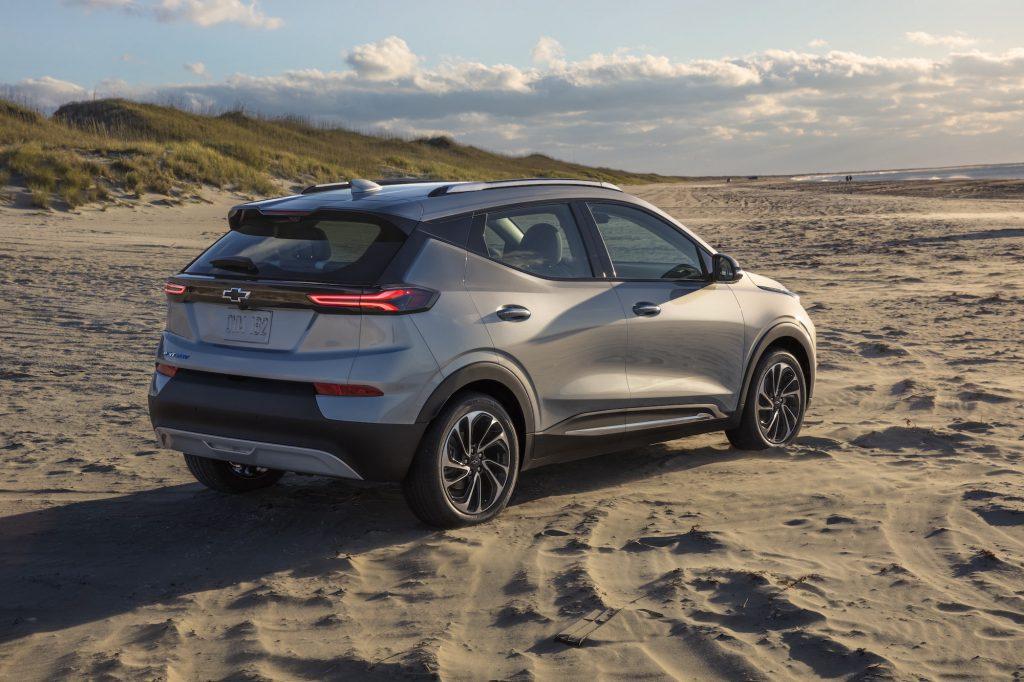 A silver 2022 Chevy Bolt EUV parked on a beach