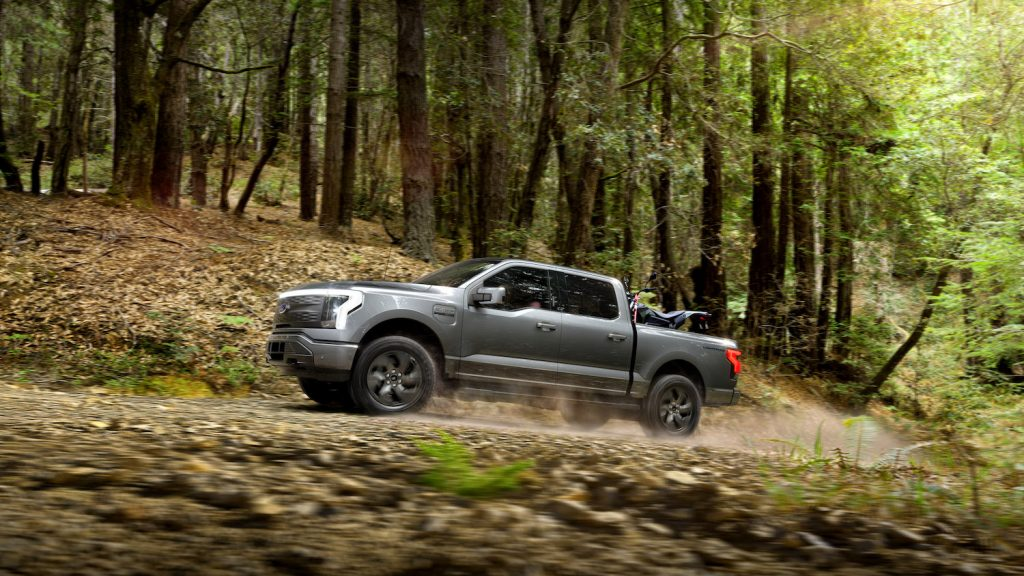 A grey 2022 Ford F-150 Lightning Lariat, which may be eligible for EV tax credits