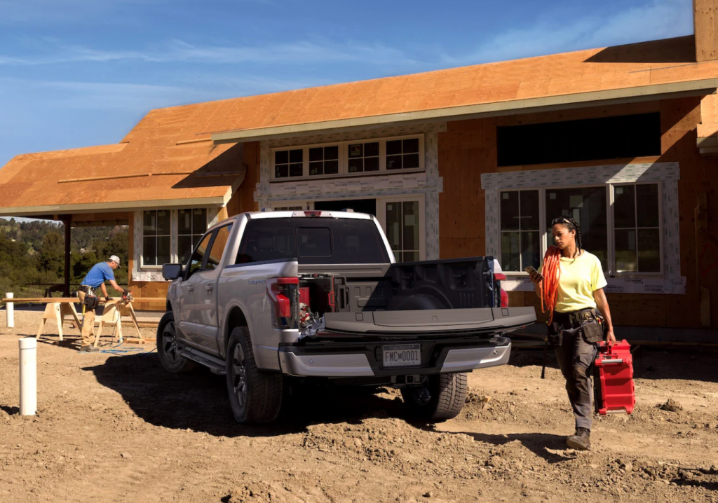 2022 Ford F-150 Lightning at construction site
