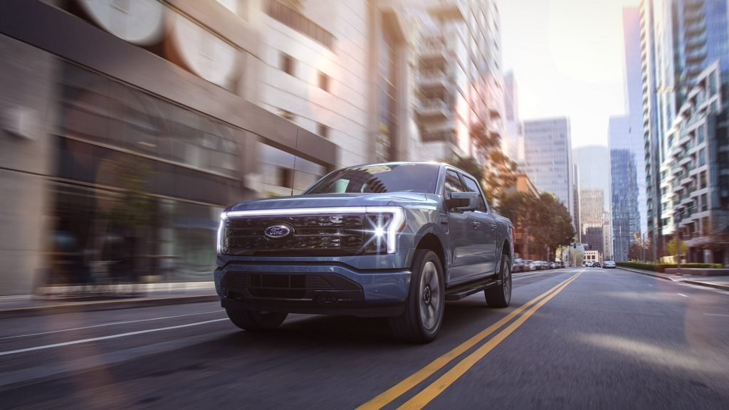 2022 Ford F-150 Lightning in the city