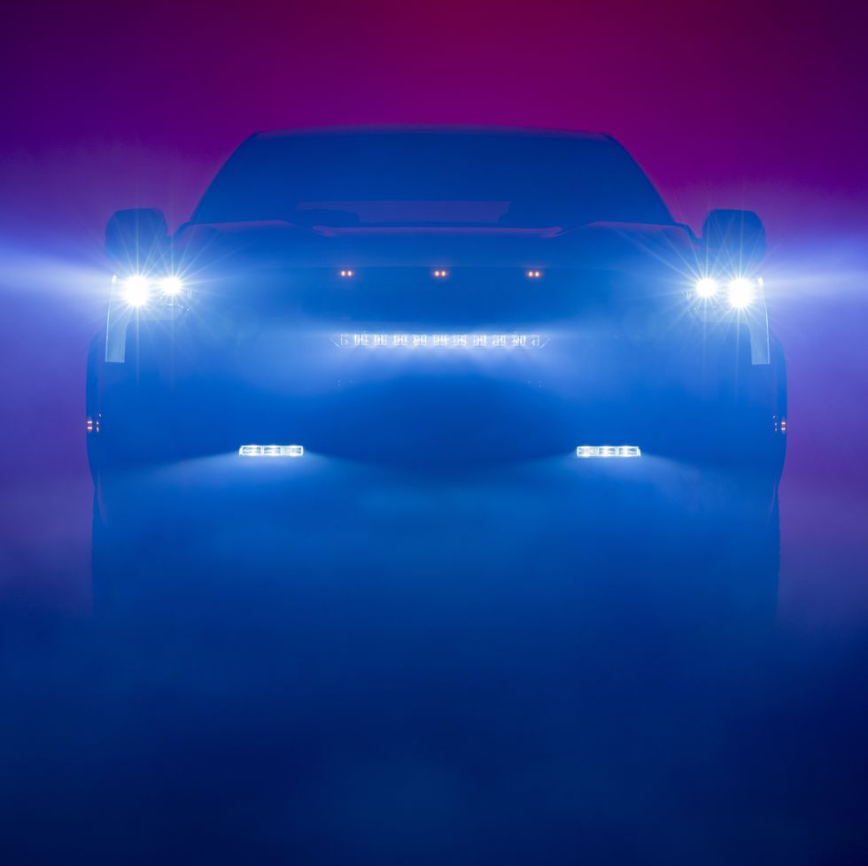 A teaser image of the 2022 Toyota Tundra that displays new headlight designs.