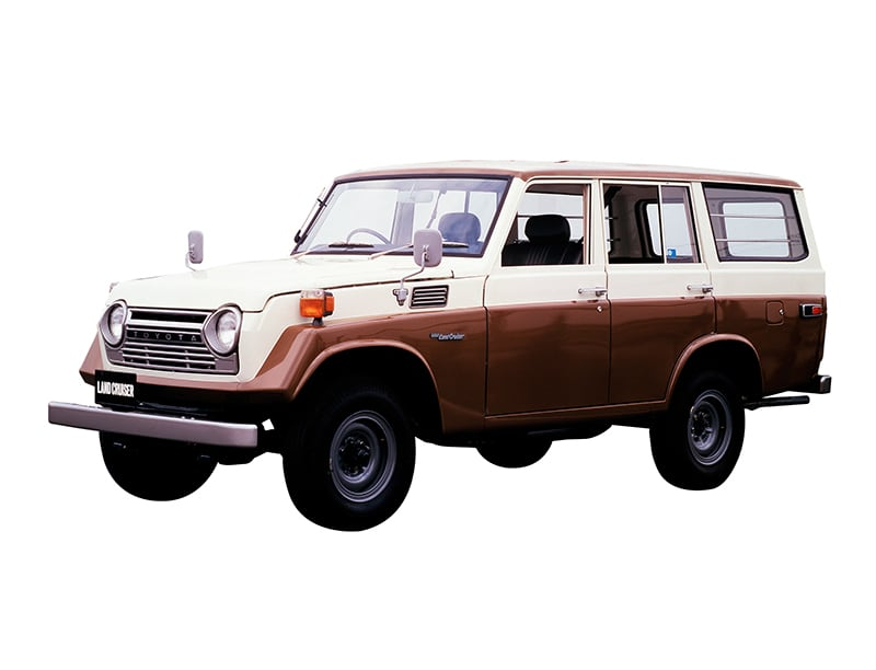 a press photo of the Toyota Land Cruiser 55 series wagon against a white backdrop