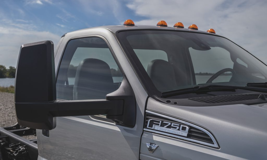 2022 Ford F-750 up close of the badge of the biggest ford pickup truck