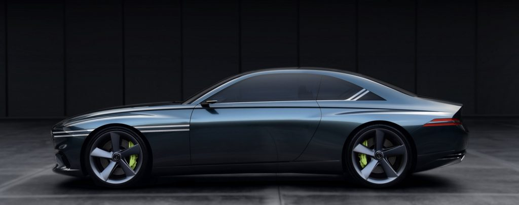 The green Genesis Concept X on display shot in profile