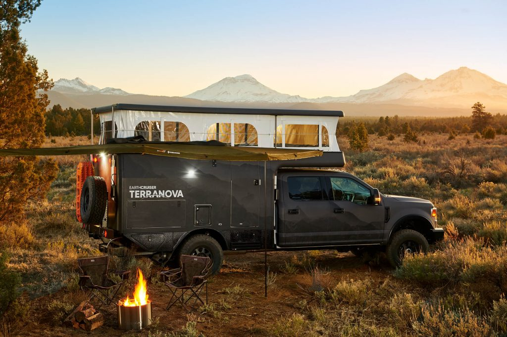 the EC Terranova overland RV with its top popped in the bush