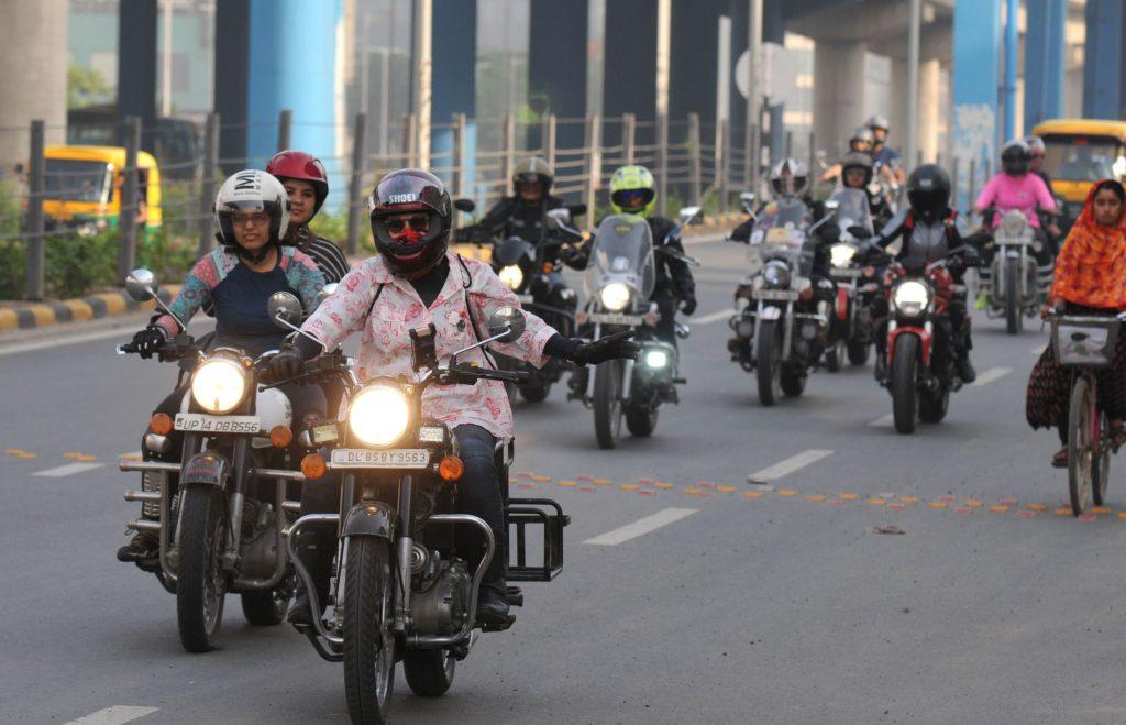 A group of female riders in Gurugram, India participate in International Female Ride Day 2019