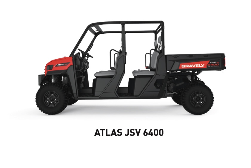 Gravely Atlas JSV 6400 utility vehicle in a press photo from a sell sheet