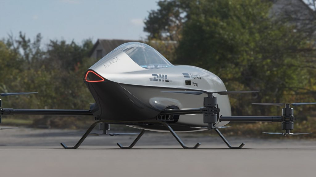 Airspeeder flying race car rear view
