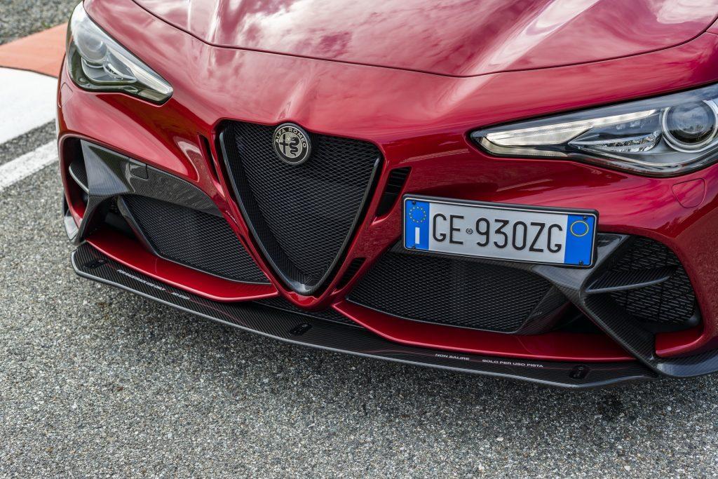 front shot of red Alfa Romeo Giulia GTAm sedan