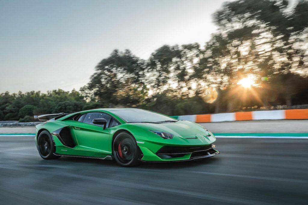 A green Lamborghini Aventador