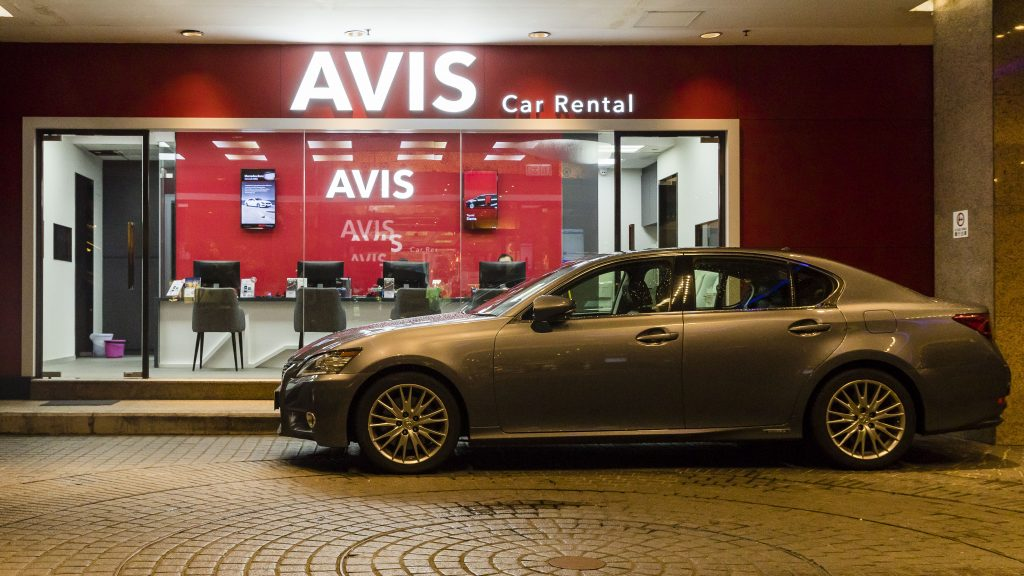 A view of the Avis Rent a Car store in Hong Kong.