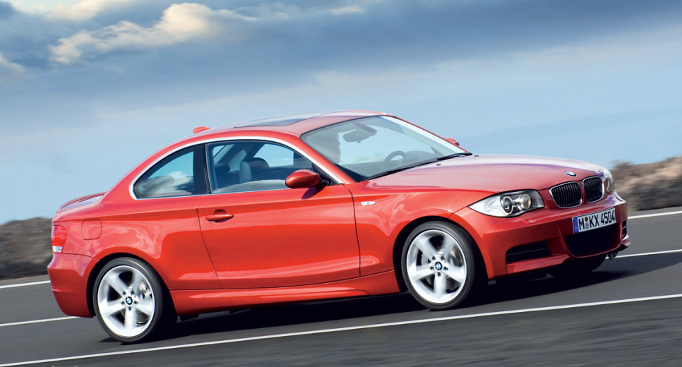 BMW 1 Series coupe in orange