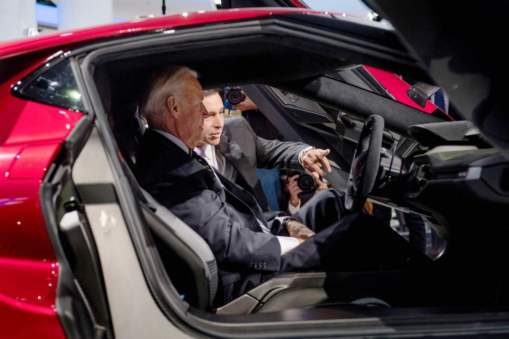 CORRECTION - President and CEO of Ford Motor Company Mark Fields (R) shows US Vice President Joe Biden (L) the Ford GT, President Biden will visit Dearborn to see the Ford F-150 Lightning EV pickup next week
