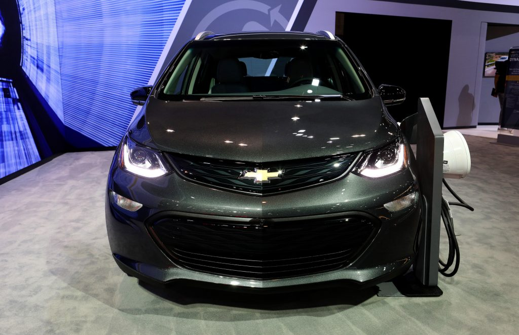 Black 2019 Chevrolet Bolt EV is on display at the 111th Annual Chicago Auto Show at McCormick Place