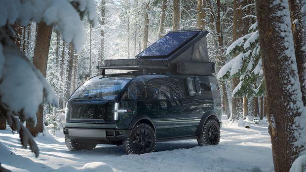 Canoo camper van in forrest