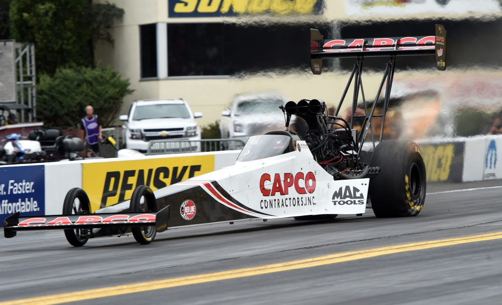 A Capco Contractors dragster at a racing event. NHRA's 2021 SpringNationals was postponed due to weather.