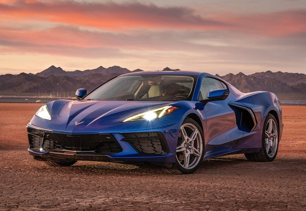 An image of a Chevrolet Corvette parked outside. This is currently the fastest-selling car in America.