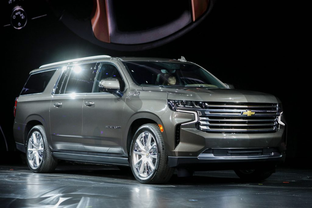 The new gray 2021 Chevrolet Suburban High Country is revealed by General Motors at Little Caesars Arena. The Chevy Suburban is the oldest car nameplates in the United States