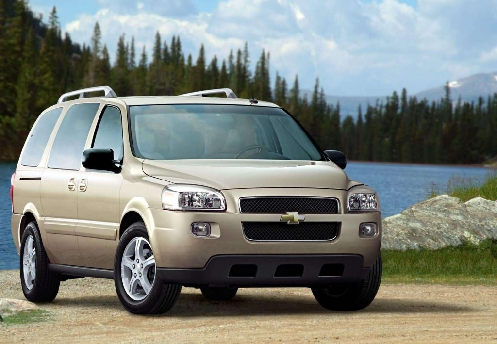 An image of a Chevrolet Uplander parked outdoors. A minivan owned by America's safest drivers.