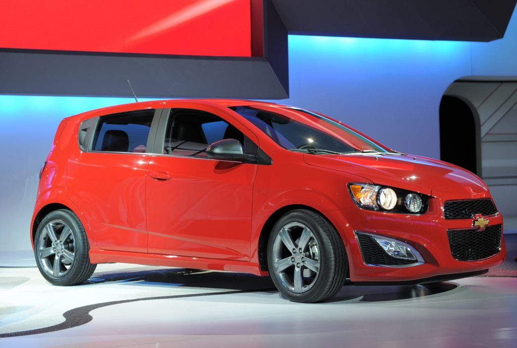 The Chevrolet 2013 Sonic production vehicle is displayed during the first press preview day at the 2012 North American International Auto Show