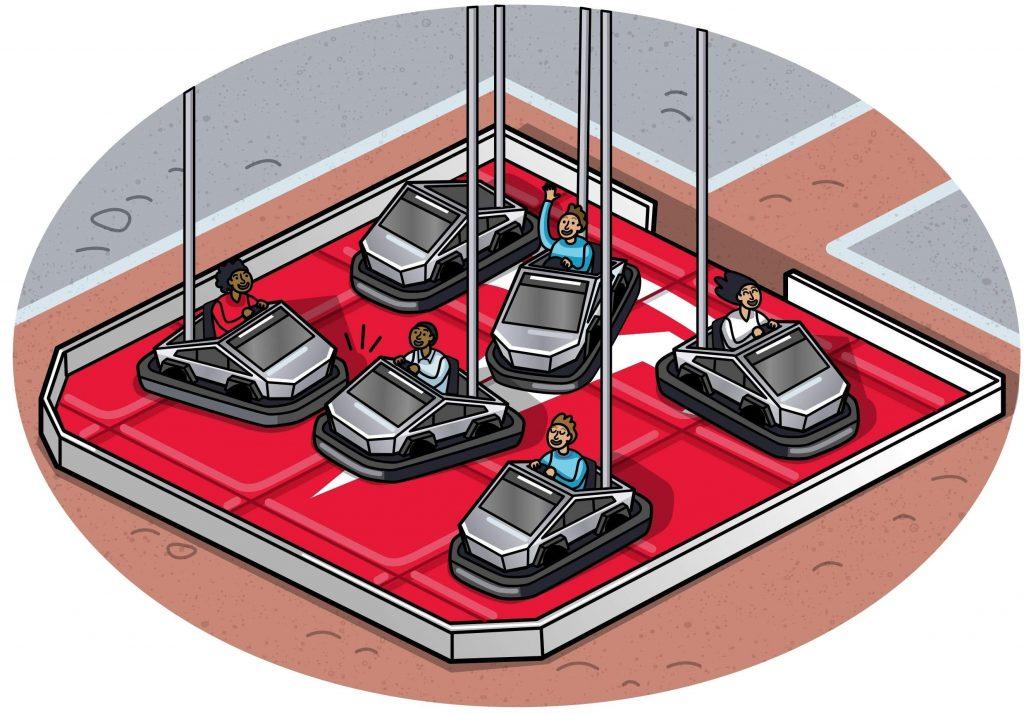 CyberTruck bumper cars.