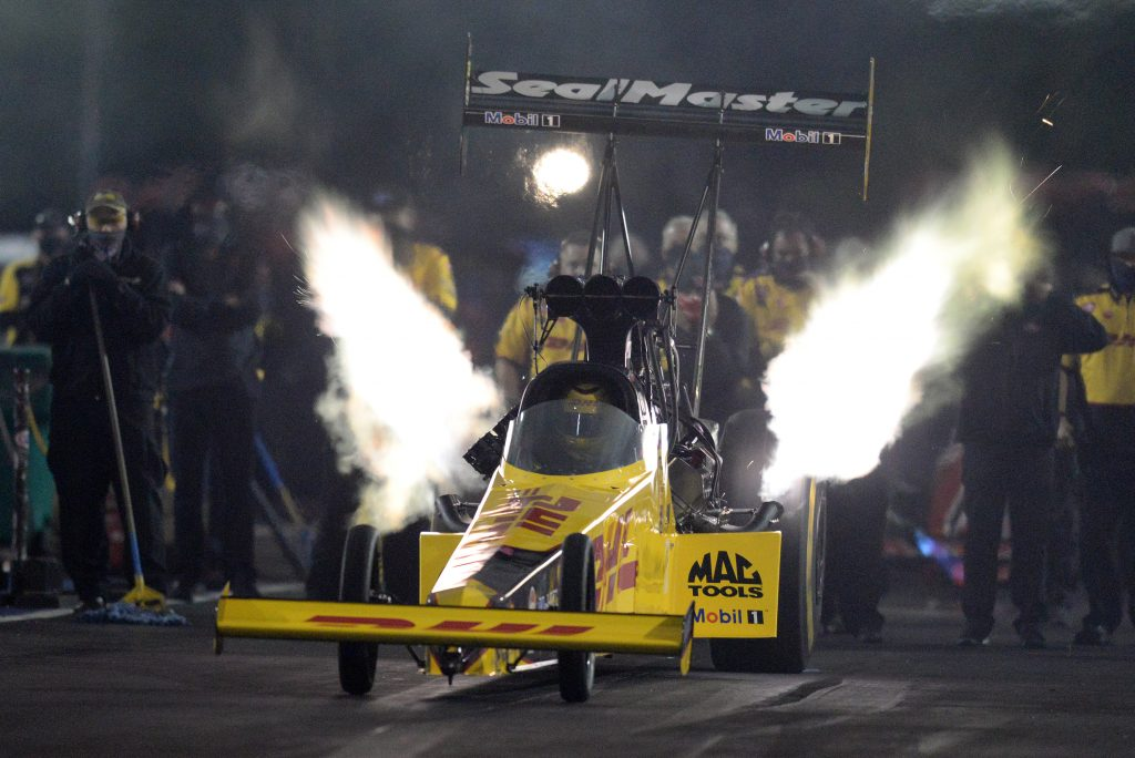 A DHL Toyota dragster. The 2021 NHRA SpringNationals were postponed due to weather.