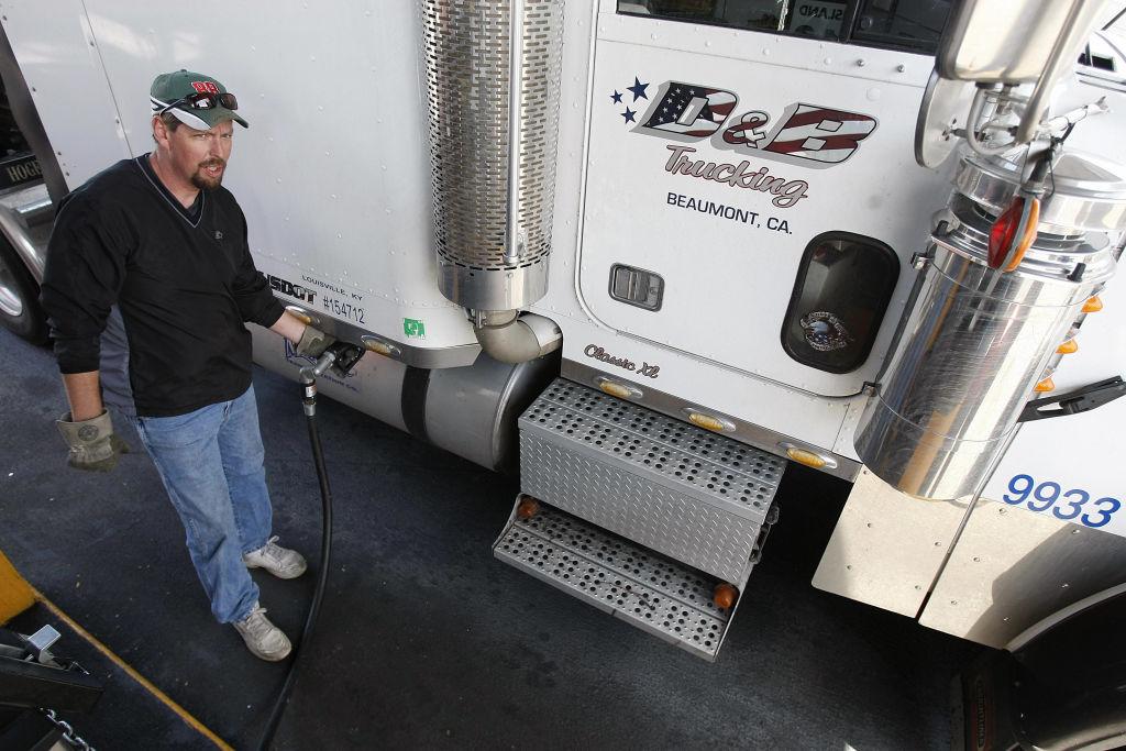 diesel truck being fueled up