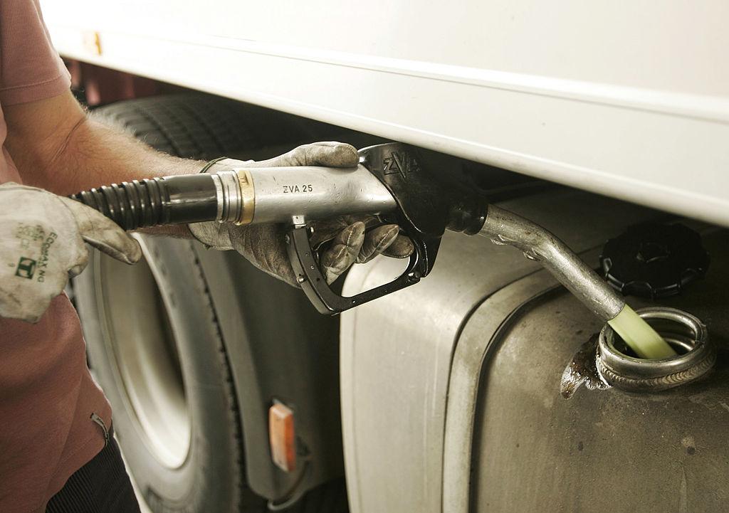 diesel truck fueling up