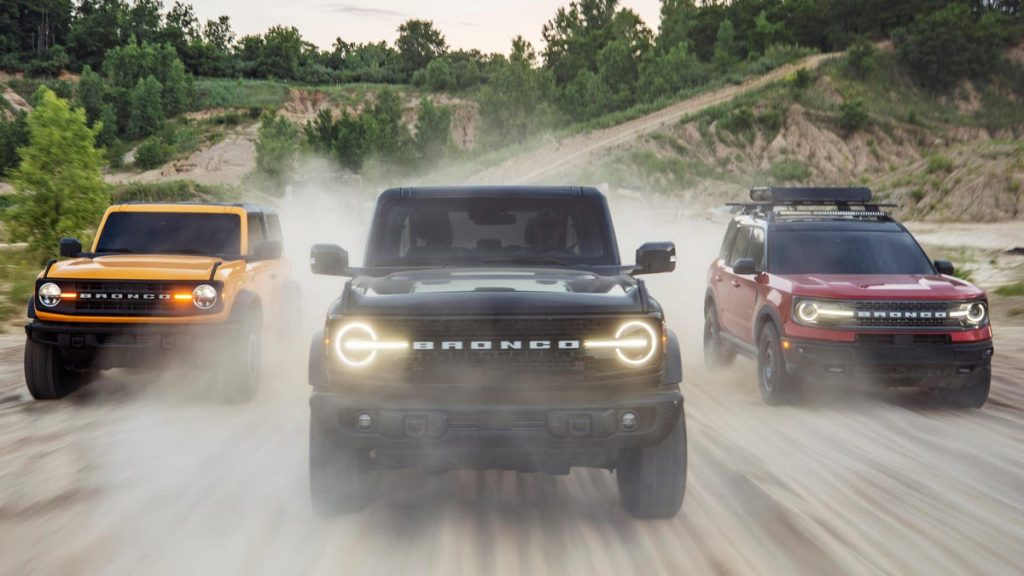 The two-door Ford Bronco, four-door Ford Bronco, and Ford Bronco Sport