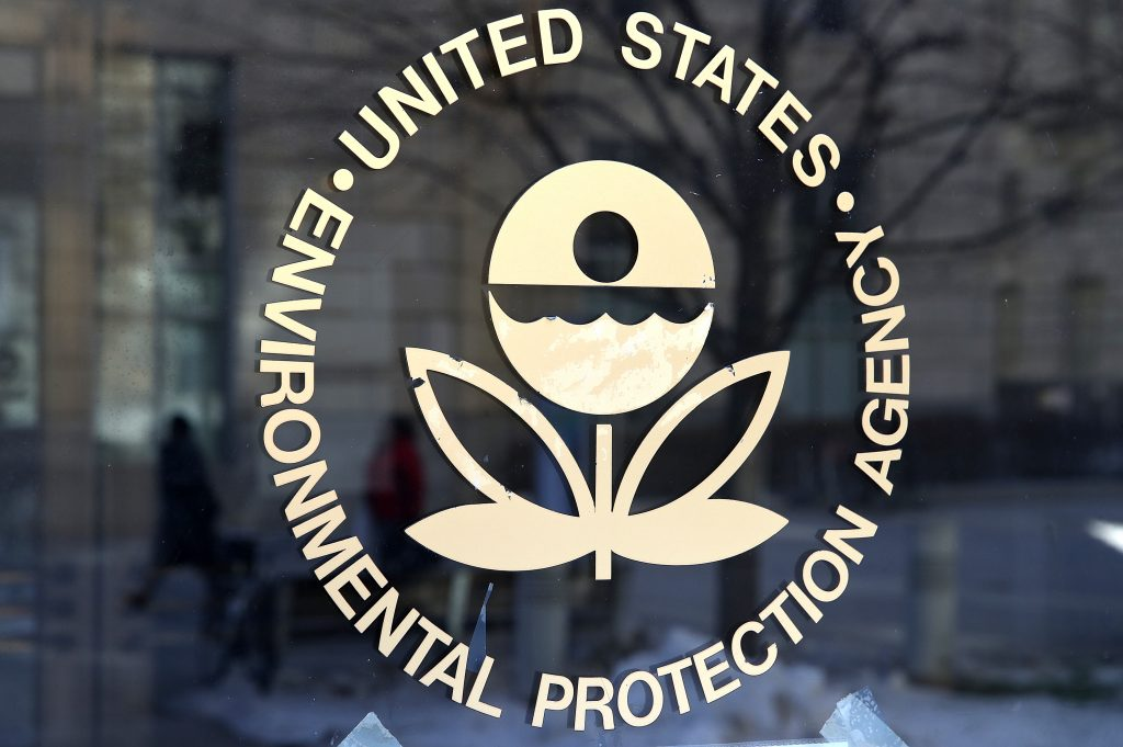 The EPA symbol on a window. The EPA wants to reduce emissions on vehicles, including motorsports.