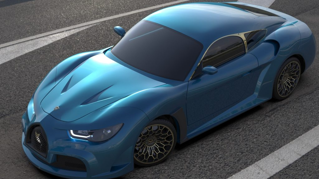 Electra Quds Rise sports car in turquoise