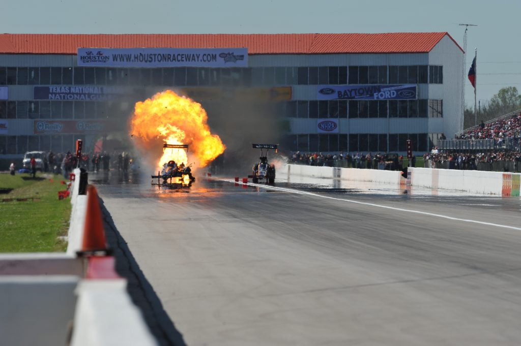An engine explodes at a drag race. An engine exploded at May 23rd's SpringNationals, which was postponed due to rain.