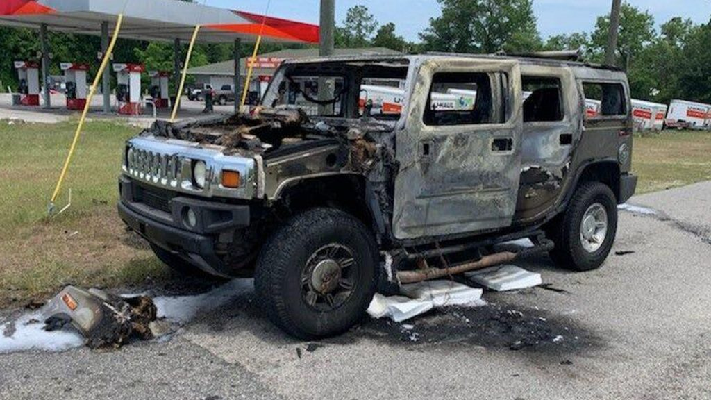 Charred Hummer H2 caught fire after driver was hoarding gasoline
