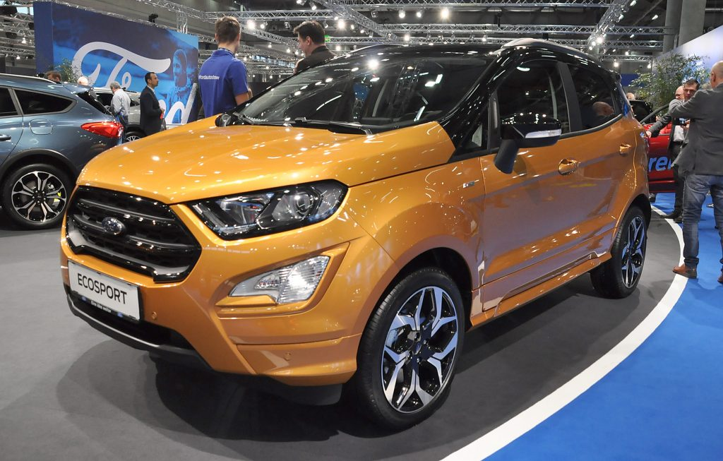 A yellow Ford EcoSport is seen during the Vienna Car Show press preview at Messe Wien, as part of Vienna Holiday Fair