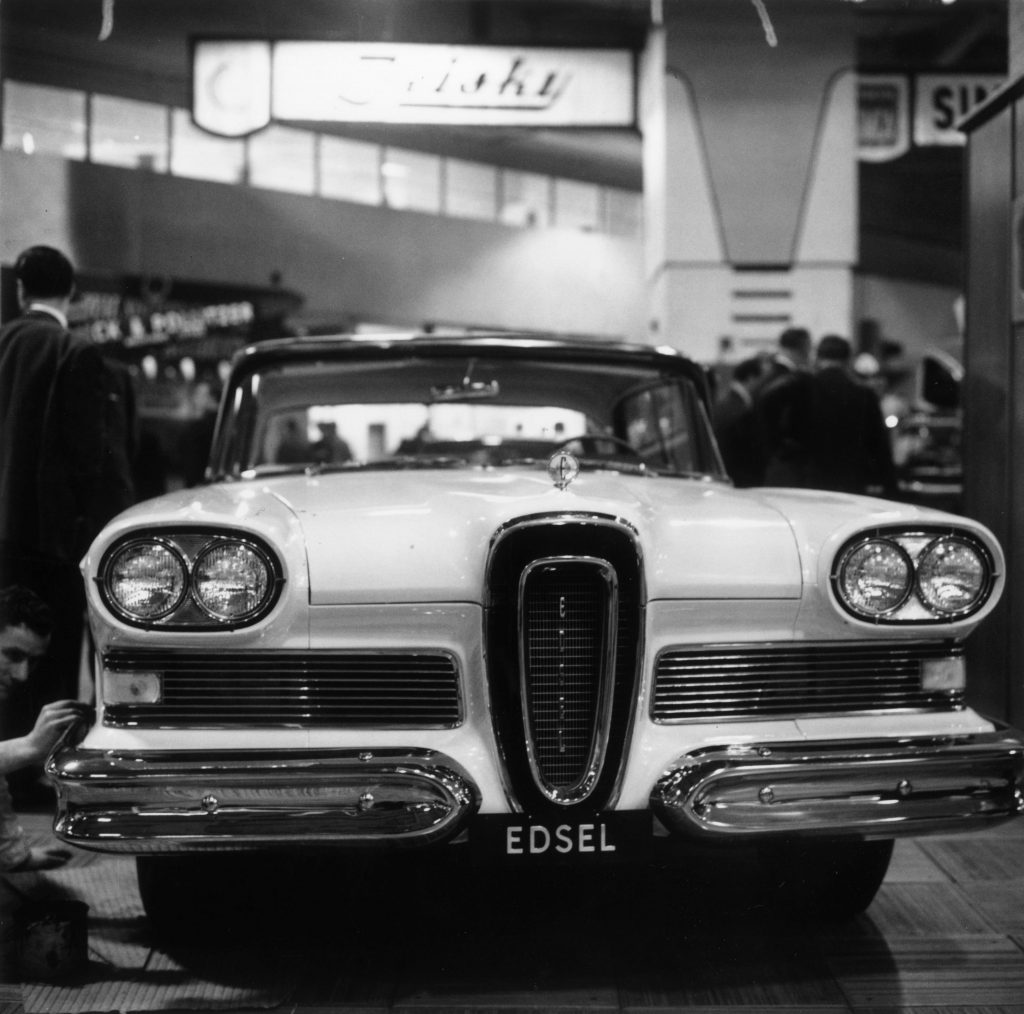 A vintage Ford Edsel is on display at a motor show and made our list of most hated cars of all times.