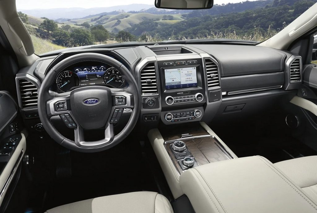 Interior of a 2021 Ford Expedition.