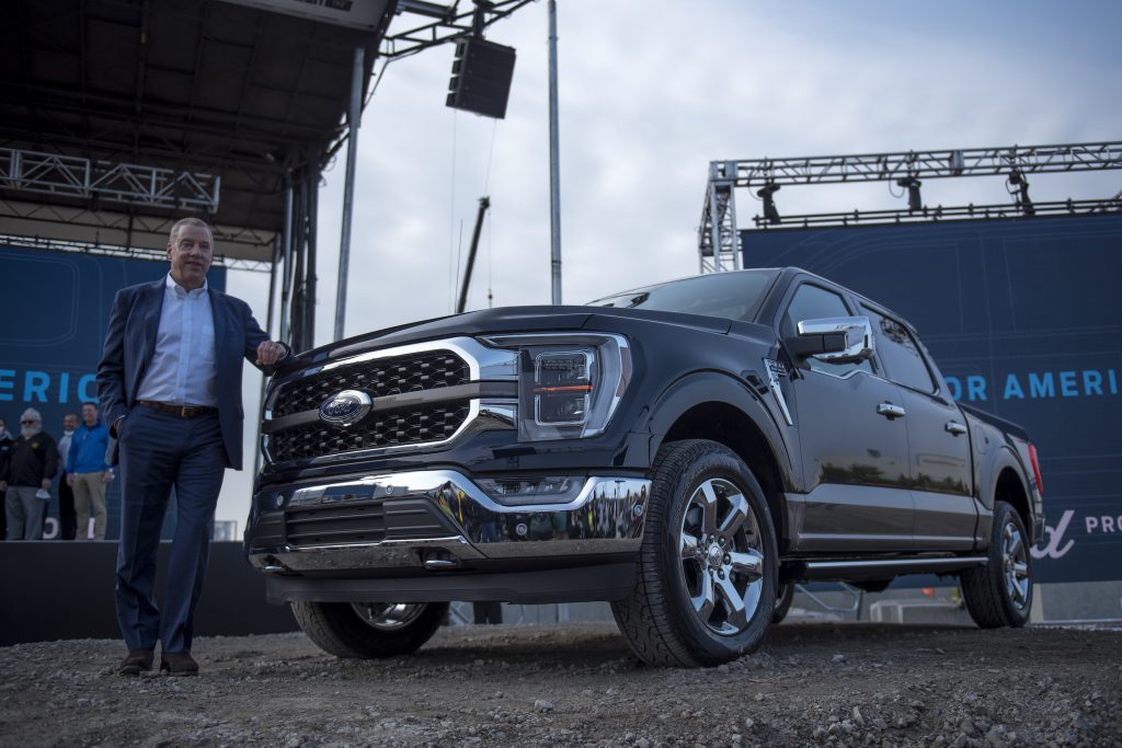 Executive Chairman of Ford Bill Ford poses for a photo with the 2021 Ford F-150 King Ranch Truck at the Ford Built for America event at Ford's Dearborn Truck Plant
