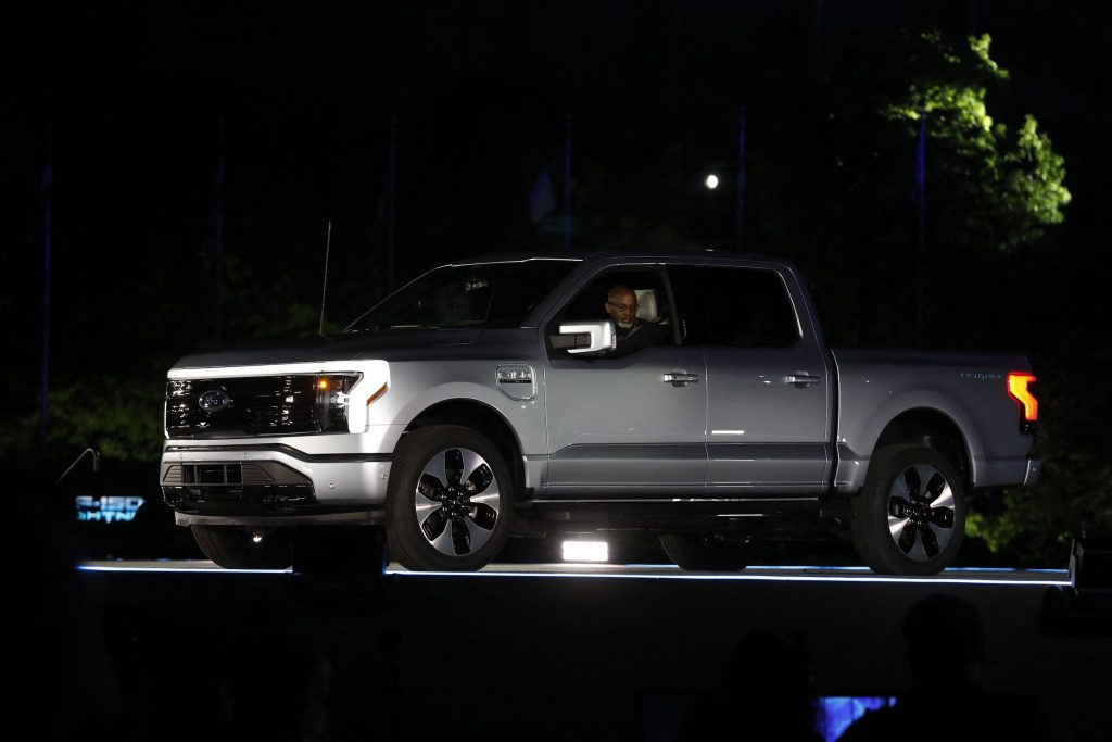Ford Motor Company' unveils their new electric silver F-150 Lightning outside of their headquarters in Dearborn, Michigan