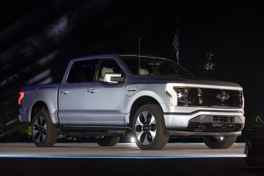 The new silver all-electric Ford F-150 Lightning performance pickup truck is revealed at a livestream event at Ford World Headquarters